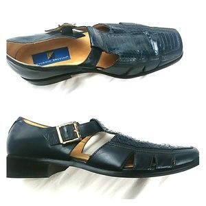 Georgio Brutini Men blue snakeskin leather loafers